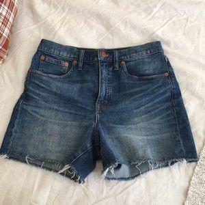 Madewell blue high rise jean shorts